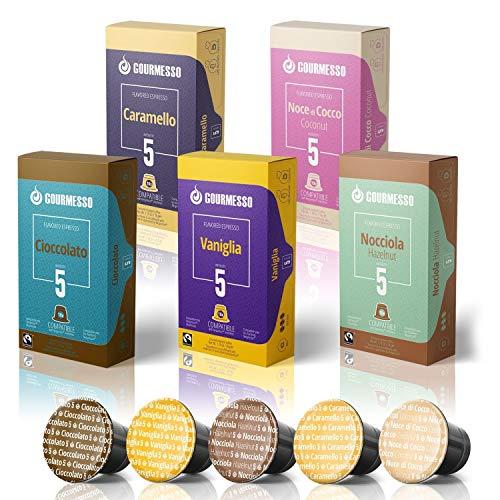 Gourmesso Flavor Bundle - 100 Coffee Capsules Compatible with Nespresso Machines - 100% Fair Trade   Includes Vanilla, Caramel, Chocolate, Hazelnut, and Coconut Flavored Espresso Pods