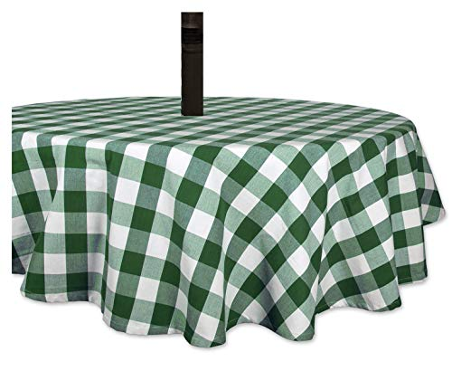 Carnation Green White Check Vinyl Tablecloth with Umbrella Hole and Zipper for Patio Table 70 Round
