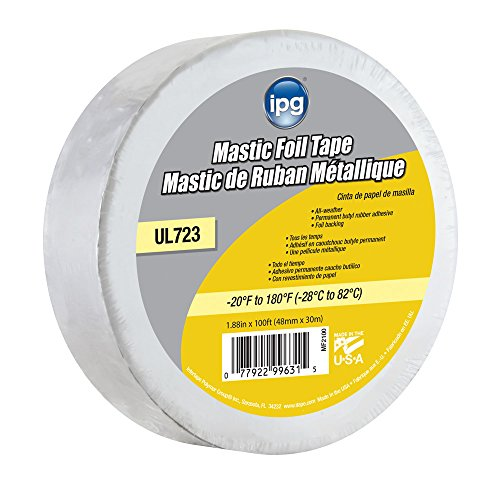 IPG ALF Butyl Mastic Foil Tape, 1.88' × 100 ft, (Single Roll) (MF2100), Silver