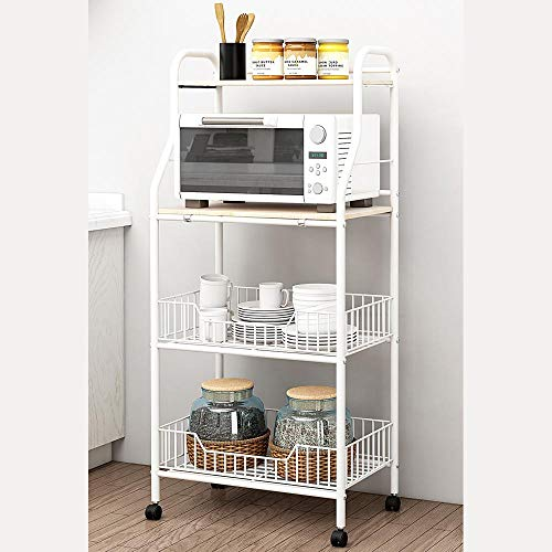 KDBEB 4-Tier Storage s Tower on Wheels,White Steel Bedside Storage Caddy for Home Office Organiser
