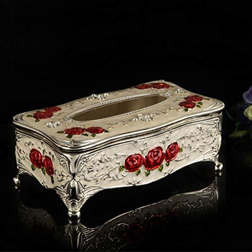 Hmy Europese soort-metaalweefsel-box uitgangversiering driedimensionale rozen-weefsel-doos