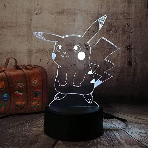 GEZHF Festival 3D Animal Dinosaurio Luz nocturna LED ilusión Lámpara Cambio de Color Touch Mando a Distancia USB Mesa Regalo Niños Juguetes Dormitorio Decoración de Cumpleaños Navidad Mq2588_Touch