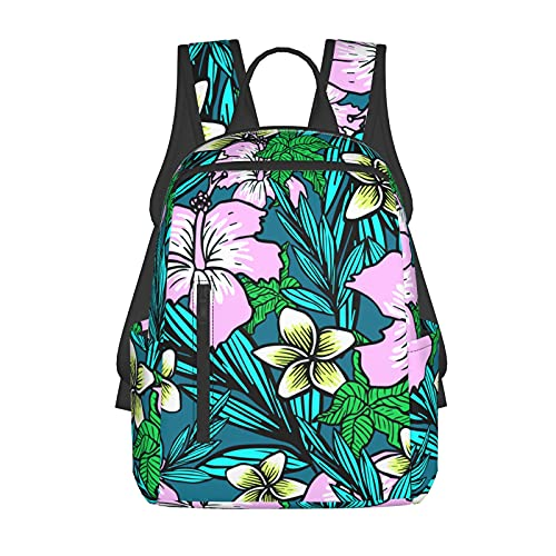 NiYoung School Daypack Backpack, Large Capacity Rucksack for Camping Picnic Bicycle, Tropical Flowers Hibiscus Camping Outdoor Backpack for Women Men, Back to School