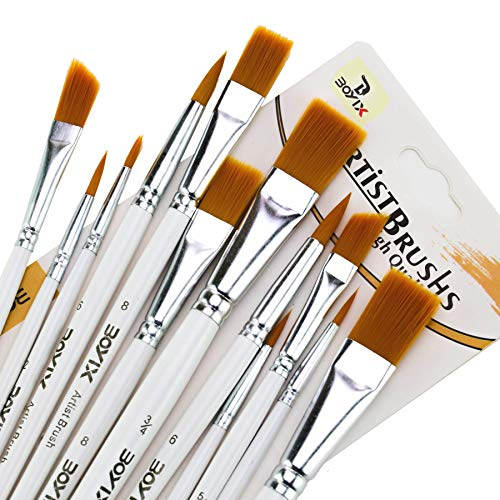 12 PCS Paint Brushes for Acrylic Painting, Nylon Hair Professional Watercolor Brushes for Painting, Oil Paint Brushes Set for Kids and Adults to Create Artists Painting Supplies