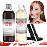 BIOSCEN Sangue Finto e Lattice Liquido per Halloween Trucco, Realistico Horror Vampiro Zombi Sangue Artificiale 100ml e Latex Milk 60ml per Creare Pelle Strappata/ Rughe /Cicatrice /Ferite