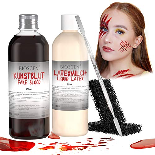 Kunstblut & Latexmilch Makeup Set, Halloween Zombie Vampir Wundschorf Schminke zum Wunden & Narben, Spezialeffekt Auswaschbar Fake Blood 100ml & Liquid Latex 60ml mit Make-up Schwamm und Spatel