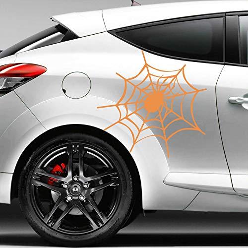 INDIGOS UG Aufkleber - Autoaufkleber Spinnennetz 2er Set, je 20cm x 21cm orange - Tuning Carystyling Heckscheibe Auto