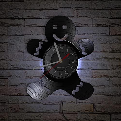 GVSPMOND El Reloj de Pared está Hecho de Discos de Vinilo Reales, con una Cara Sonriente Reloj de Pared LED Regalos de inauguración de la casa Decoración de la habitación de Navidad Reloj de Pared