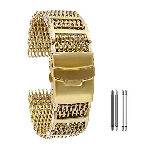 YWSZY Universal, Correas de Reloj de Acero Inoxidable de 20 mm 22 mm 24 mm/de Rose Gold/Blue Gold reemplazo Correa for la muñeca con Cierre desplegable con Seguridad Correa de Reloj