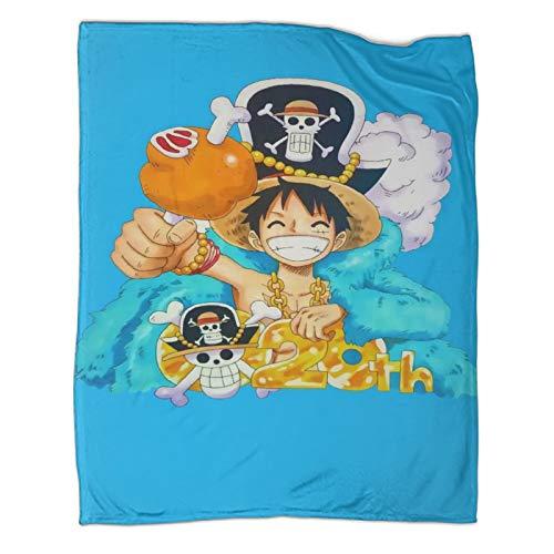 Decoración de invierno para el hogar anime una pieza Luffy elegante manta de felpa de 100 x 130 cm
