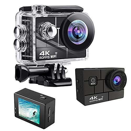 4K WiFi 24MP Action Cam, Impermeabile Videocamera Subacquea con EIS, Ultra HD Sport Camera, 170° Grandangolare, con Schermo 2 Pollici, 900mAh Batterie Ricaricabili e Kit Access(Size:Nessuna scheda SD)