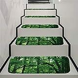 JLCP rutschfeste Stufenmatten, Grün Woods Selbstklebender Treppenstufen-Teppich Schlafzimmer Badezimmer Tür Boden Weich Und Bequem Stufen Teppiche Protector Matten,70X22cm,15pcs