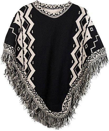 styleBREAKER Strick Poncho mit Azteken Muster und Fransen, Rundhals, Feinstrick, Damen 08010013, Farbe:Schwarz-Beige