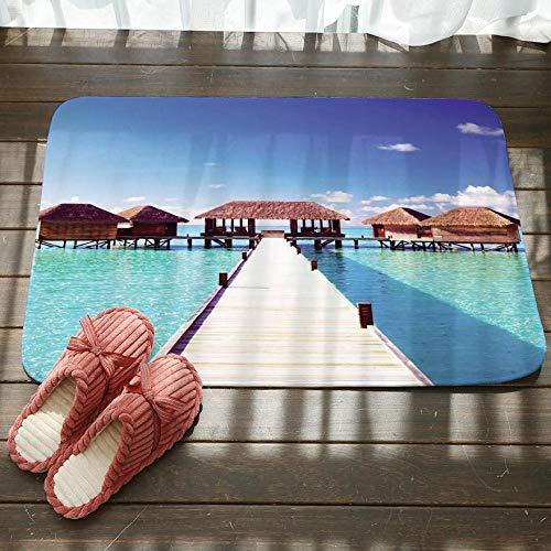 GjbCDWGLA Houten Brug Paviljoen In De Zee Antislip Badkamer Tapijt Zachte Textuur Vloermat Wasbare Badmatten Waterabsorberende Tapijten Deurmat 50Cm X 80Cm