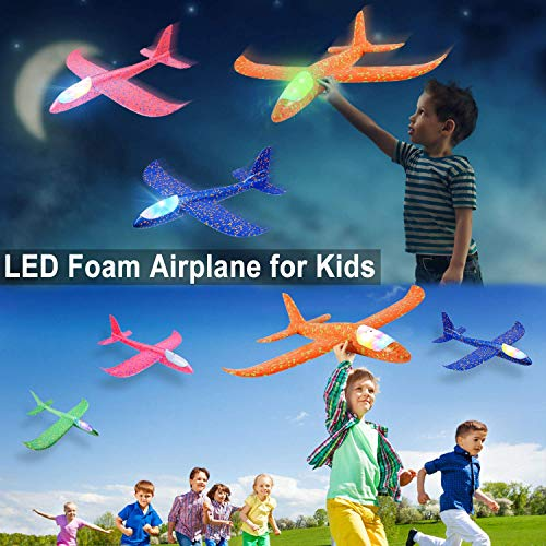 PLUSPOINT Airplane Toys Throwing Foam Plane, with LED Light Up Glider Airplane Model Toy with Dual Flight Mode Outdoor Plane Jet Sports Game Flying Toys Gift for Kids (2 Pack) (Pack of 2)