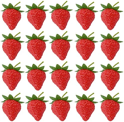 RONRONS 20 Pieces Artificial Strawberry Lifelike Fruit Plastic Strawberries Photography Prop product image