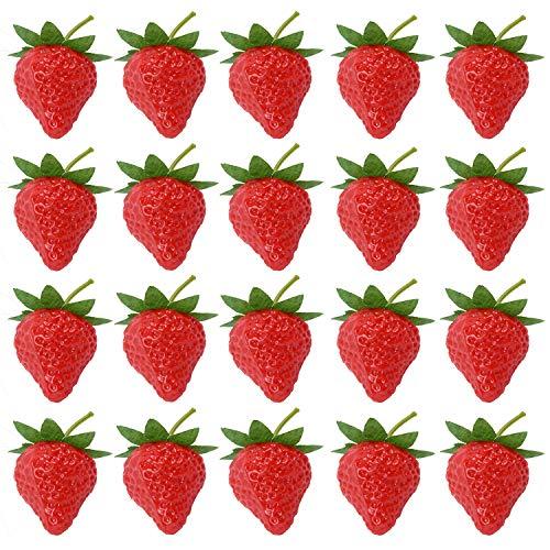 Ronrons 20 Stück künstliche Erdbeeren lebensechte Früchte Kunststoff Erdbeeren Fotografie Requisite Zuhause Küche Schrank Party Ornament Small rot