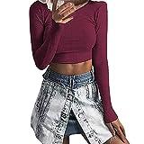 Moda Mujer Casual Estampado A Cuadros De Manga Larga con Cuello En V Camisa Casa Blusa Topsmujeres Tops TúNica Bloques Color Rayas Punto Gofrado Sudadera Capucha YanfangXLWine