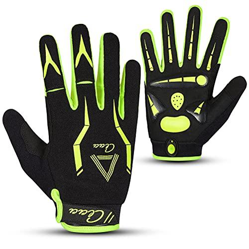 aaasports Fahrradhandschuhe für Herren Damen, MTB BMX Mountainbike Radsport Vollfinger Handschuhe Atmungsaktiv Unisex Erwachsene Touchscreen mit Gel pads Bicycle Gloves (Grün, L)
