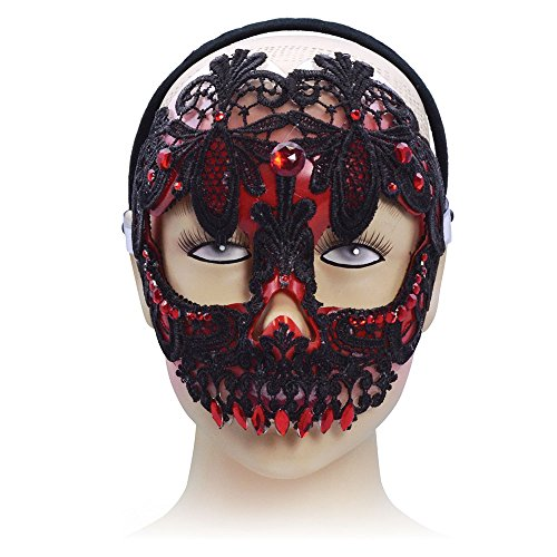 Sugar Skull, Red/Black (H/B) Mask, Halloween Fancy Dress, Accessory
