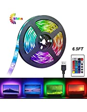 LED Light Strip 2m USB Decoration Lighting RGB Waterproof Lamp with 24 Key Remote Control for Bedroom Car TV Computer Party (Color Changing)