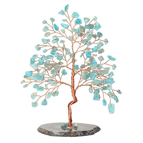 CrystalTears Natural Amazonite Crystal Money Tree Feng Shui Crystal Tree Sculpture Figurine Healing Gemstone Tree of Life Ornament with Agate Slice Geode Stand for Good Luck Home Decoration 5.5'-6.3'