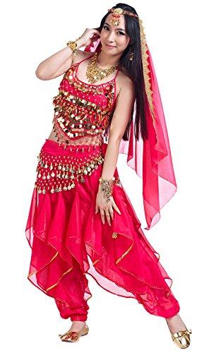 BellyQueen Traje Danza del Vientre Mujer Conjunto de 3 Piezas Disfraz Fiesta Top Lentejuelas Pantalones - Rosa