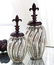 The Lakeside Collection Set of 2 Vintage Glass Decorative Canisters