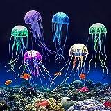 LYQQY Decoración Medusas, 6 Piezas Medusas Artificiales Adorno de Medusas Decoración Realista y Natural Medusas Artificiales para Pecera Casera, Decoración del Acuario, 15x15cm