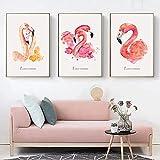 Dibujos animados de animales flamencos amarillos y rosados e impresiones pinturas en lienzo cuadro de arte de pared para la sala de estar decoración de la habitación de los niños sin marco-40x60cm