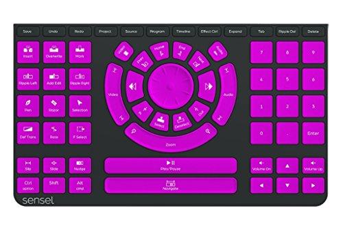 Sensel Video Editing Overlay Attachment per il sensore di pressione Sensel Morph Controller (Jogwheel e comandi navetta sensibili, mappature per tutti i comuni programmi video), Nero   Viola