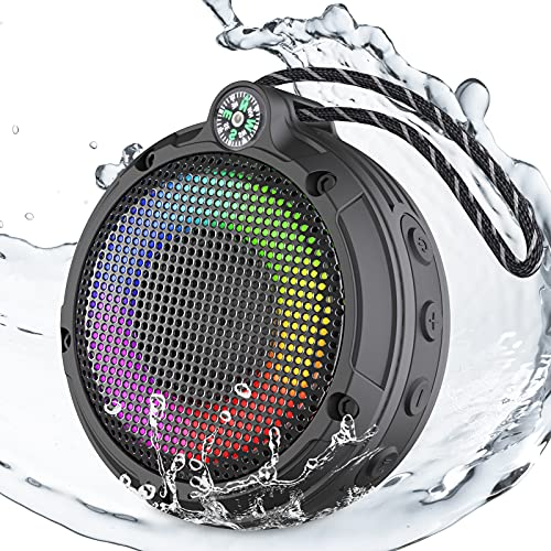 Ortizan Bluetooth Shower Speaker, IPX7 Waterproof Speaker with LED Lights, Portable Outdoor Wireless Speaker with 8W & 24H Playtime, Perfect for Shower, Bike, Hike, Support TF Card, FM Radio