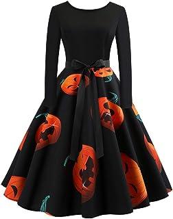 cbb560f4ab9624 GREFER Women Long Sleeve Dress Vintage Pumpkins Evening Prom Costume Swing  Dress Halloween Christmas St.