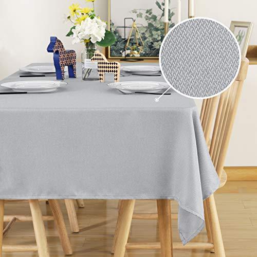 Deconovo Tischwäsche Leinenoptik Lotuseffekt Wasserabweisend Tischdecke Esstisch 130x280 cm Hellgrau