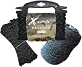 X-CORDS Paracord 850 Parachute Cord Made in The USA (Black Diamond Kevlar, 100 FT (Quick Deploy Spool)