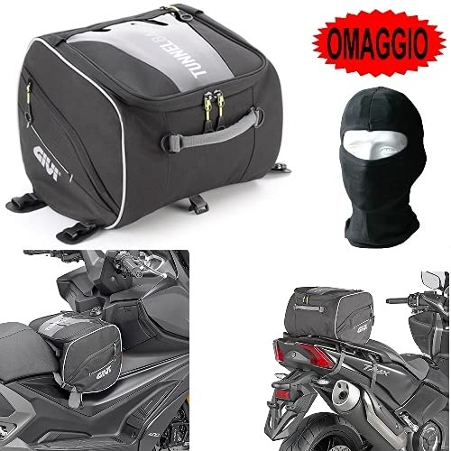 Givi EA122 - Bolsa de sillín o túnel para Peugeot Metropolis 400, color negro, 23 litros, bolsa para moto, scooter, maxiscooter, universal, 290 x 250 x 310 mm, mochila con asa, bandolera
