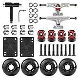 AXDT Skateboard Wheels Set,Include Skateboard Trucks, Skateboard Wheels 52mm, Skateboard Bearings, Skateboard Pads, Skateboard Hardware 1' (Silver Truck & Black Wheel)