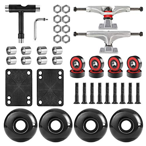 AXDT Skateboard-Räder-Set, inkl. Skateboard-Achsen, Skateboard-Räder, 52 mm, Skateboard-Kugellager, Skateboard-Pads, Skateboard-Hardware 2,5 cm (silberner LKW und schwarzes Rad)