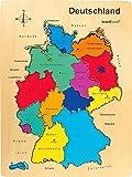 small foot 1965 Puzzle Deutschland aus Holz, zum Nachlegen mit verschiedenfarbigen Bundesländern, ab 5 Jahren