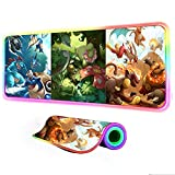 Gaming Mouse Pad Animation Pokemon RGB Large Gaming Mat LED Lighting Gamer Computer Pad Desk Mat with Backlight 35.43 inch x15.74 inch x0.15 inch