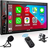 Double Din Stereo Compatible with Apple Carplay, aboutBit in-Dash 2 Din Digital Media Receiver - Bluetooth Mirror link 7 inch Touchscreen MIC AM/FM Radio USB/SD A/V Input HD Backup Camera Phone Charge