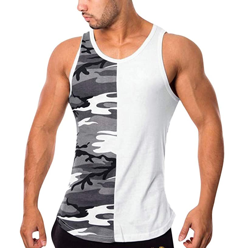NEARTIME Mens Sleeveless Vest, Summer Fitness Camouflage Tees Splice Slim Bodybuilding Tight-Drying Shirts Tank Tops