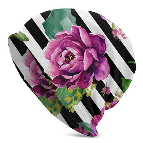 Gorro Slouch Beanie, Transpirable, Ligero, Elástico, Suave Gorra de Calavera Pink Sunrise - Rayas Blancas y Negras
