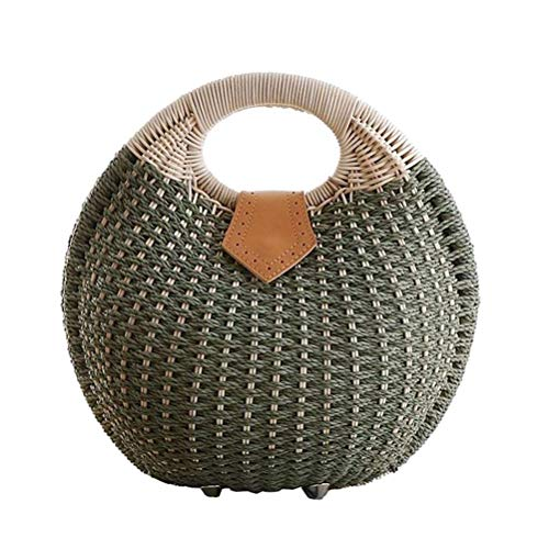 TENDYCOCO Top Handle Satchel Straw Handbag Rattan Shell Shape for Women (Green)