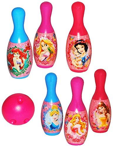 alles-meine.de GmbH 7 TLG. Set Kegelspiel / Bowling - Disney Princess - Prinzessin - aus Kunststoff / Plastik - für Außen + Innen - Bunte Farben Kegeln Kegel - für Kinder / E..