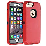 Co-Goldguard Case for iPhone 6s Plus/6 Plus,Heavy Duty [No Screen Protector] 3 in 1 Cover with Screen Bumper Shell for iPhone 6+/6s+ 5.5 inch,Red/Black
