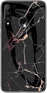 جراب من Mylne Glass لهاتف Huawei Y7 2019، جراب خلفي صلب من الزجاج الصلب المقاوم للكسر من سلسلة رخام 9H مع إطار من السيليكو...