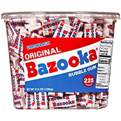 225 Piece tub of Bazooka Bubble Gum in Bazooka's signature original Bubble Gum flavor Shelf-stable gum makes a great pantry item – perfect treat to have around the house! Unwrap each piece for fun games and Puzzles as well as digital codes that unloc...
