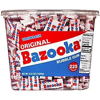 Bazooka Bubble Gum Back to School Pink Chewing Gum in Original Flavor - 225 Count Bulk Bubble Gum Tub - Fun Old Fashioned Candy for School Treats & Care Packages