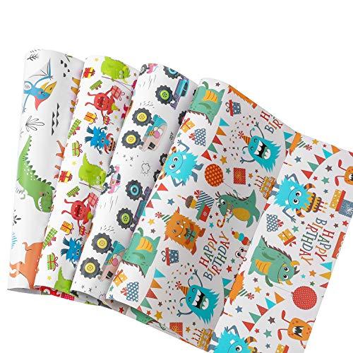 RICHTOP Papel de Regalo Para Cumpleaños -12 Hojas dobladas - 4 Diseños de Dibujos Animados-50CM * 74CM- Para Niño, Niños...